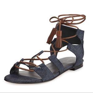 $445 8.5 Stuart Weitzman Denim Gladiator Sandals